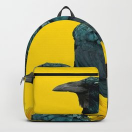 TWO CROW/RAVEN BIRD PORTRAITS & SUNFLOWERS GOLD  ART Backpack