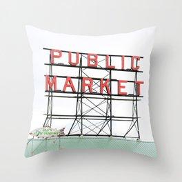 Public Market Seattle Pike Street Fish Neon Sign Northwest Washington Throw Pillow