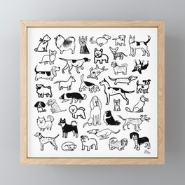Black and White Dog Drawings | Cute Dog Breeds Pattern Framed Mini Art Print