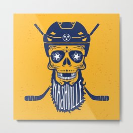 Nashville Bearded Hockey Sugar Skull Metal Print
