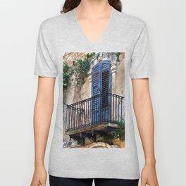 Blue Sicilian Door on the Balcony Unisex V-Neck