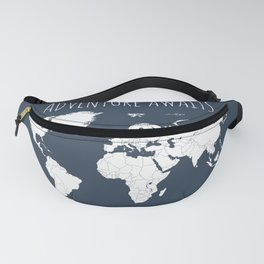 Adventure Awaits World Map in Navy Blue Fanny Pack
