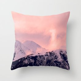 Kenai Mts Bathed in Serenity Rose - II Throw Pillow