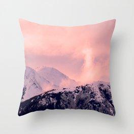 Kenai Mts Bathed in Serenity Rose - II Throw Pillow