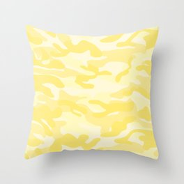 light Yellow Military Camouflage Pattern Throw Pillow