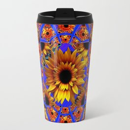 GOLD SUNFLOWERS & ROYAL BLUE PATTERN ART Travel Mug