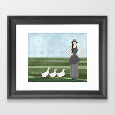 Pekin duck lady Framed Art Print