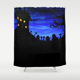 Haunted House Silhouette Shower Curtain