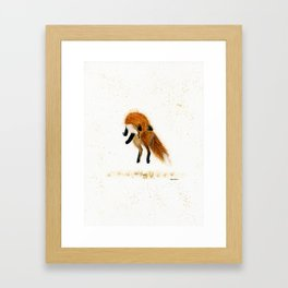 Fox Hop - animal watercolor painting Framed Art Print