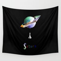 saturn Wall Tapestries featuring Saturn by Tony Vazquez