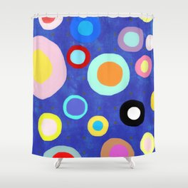 Marine Blue Watercolour Happy Circles Shower Curtain