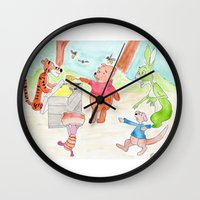 tigger Wall Clocks featuring Poo Bear Robbing Honey by Andrew Sherman