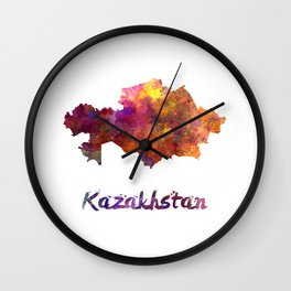 Kazakhstan in watercolor Wall Clock