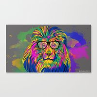 hipster lion Canvas Prints featuring Hipster Lion by ZeebraPrint