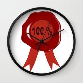Wax Stamp 100 Percent Wall Clock