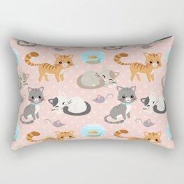 Cute Cat and Fish Pattern – Light Pink Polka Dots Rectangular Pillow