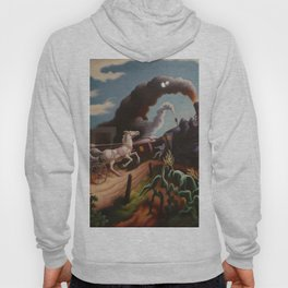 Classical Masterpiece 'Wreck of the Ol' 97' By Thomas Hart Benton Hoody