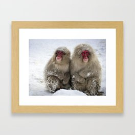 two snow monkeys Framed Art Print
