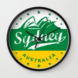 Sydney City, Australia, green yellow, poster Wall Clock