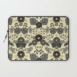 Gray, Black, Cream, Yellow & Red Sophisticated Floral Pattern Laptop Sleeve