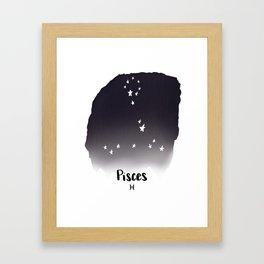 Pisces Star sign, Constellation, Astrology, Horoscope, Zodiac Grey Watercolor Framed Art Print