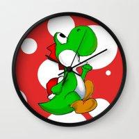 yoshi Wall Clocks featuring yoshi by Mike E. Shorts