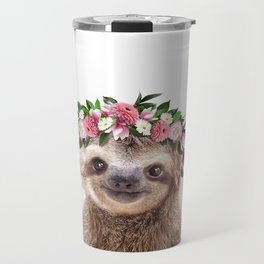 Baby Sloth With Flower Crown, Baby Animals Art Print By Synplus Travel Mug