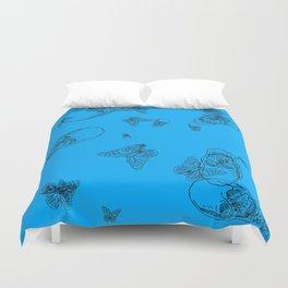 Blue Skulls and Butterflies Duvet Cover