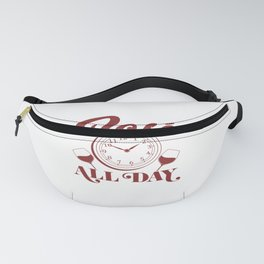 Cute Funny Wine Drinking It's Wine O'Clock Somewhere print Fanny Pack