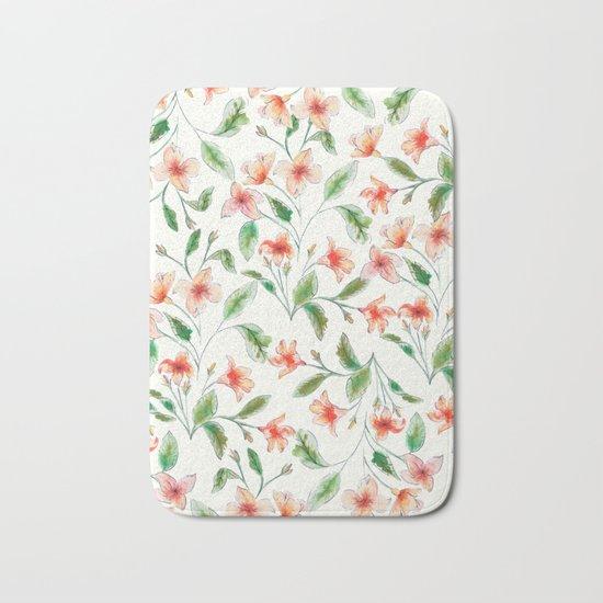 Orange Watercolor Botanical Pattern Bath Mat