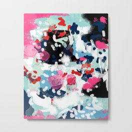 Aubrey - Abstract painting in bright colors pink navy white gold Metal Print