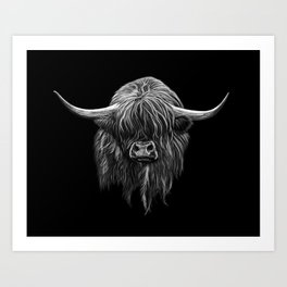 Scottish Highland Cow (bw) Art Print
