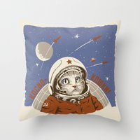 soviet Throw Pillows featuring Soviet Space Cat by Chris Kawagiwa