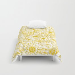 Yellow Floral Doodles Comforters