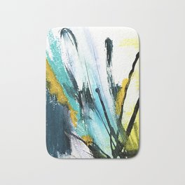 Splash: a vibrant mixed media piece in blues and yellows Bath Mat