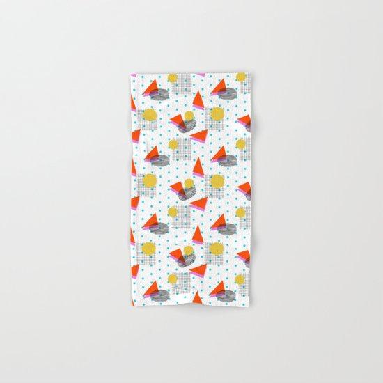 Bounce - abstract minimal retro throwback 1980s grid circle shapes memphis design pattern print art Hand & Bath Towel