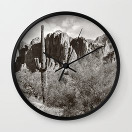 Saguaro in black and white Wall Clock