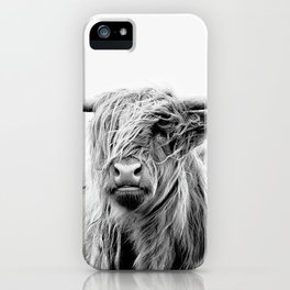 portrait of a highland cattle iPhone Case