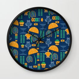 Happy pattern with turtles and cacti Wall Clock
