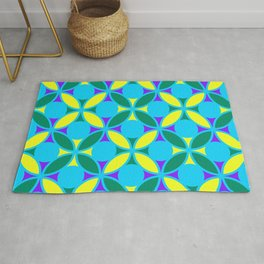 Geometric Floral Circles Vibrant Color Challenge In Bold Purple Yellow Green & Turquoise Blue Rug