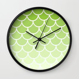 Ombre Fish Scale In Lime Wall Clock