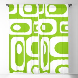 Atomic Age Pod Pattern in White and Lime Green. Minimalist Monochrome Blackout Curtain