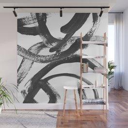 Interlock black and white paint swirls Wall Mural