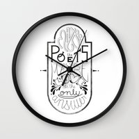 lettering Wall Clocks featuring Lettering (Maybe) by Lucia Prieto Moreno