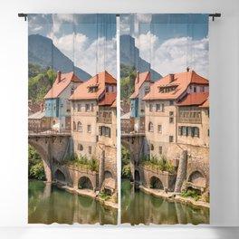 World Popular Ancient Capuchin Bridge Skofja Loka Slovenia Europe Ultra High Resolution Blackout Curtain