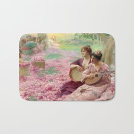 """Classical Masterpiece """"The Rose Festival"""" by Henry Siddons Mowbray Bath Mat"""