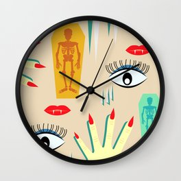 Halloween makeup Wall Clock
