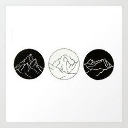 Mountain Trio Illustration Art Print