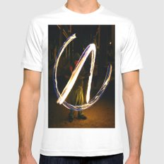 Fire Poi. Mens Fitted Tee MEDIUM White