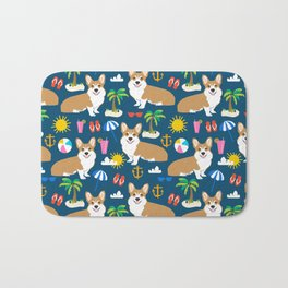 Corgi Beach Day  - summer, corgi, palm tree, cute corgi at the beach Bath Mat